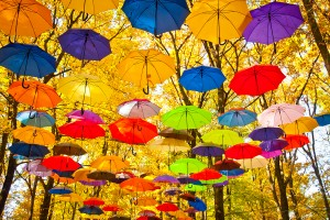 big colorful autumn umbrellas in the sky